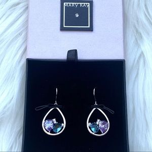 NIB Silver Teardrop Crystal & Rhinestone Earrings